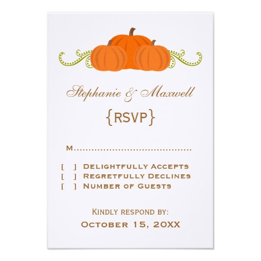 Pumpkin Swirls Fall Wedding Response Card Personalized Invitation