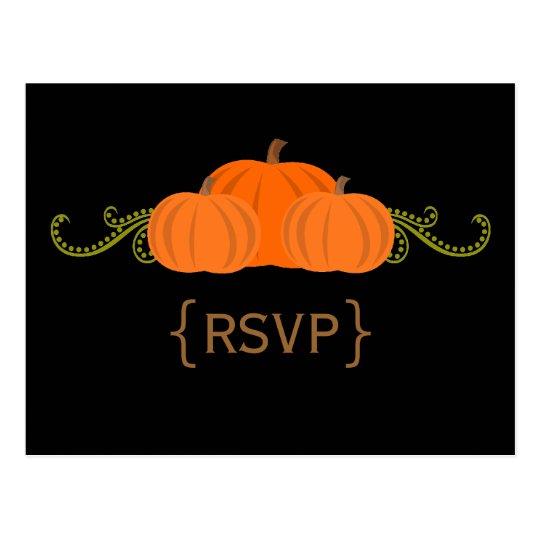 Pumpkin Swirls Fall Wedding RSVP Postcard (dark)