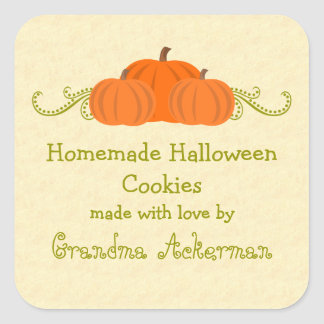Pumpkin Swirls Halloween Baking Label Stickers