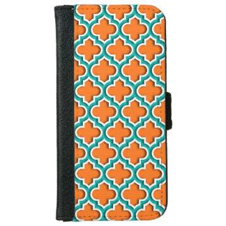 Pumpkin, Teal, White Moroccan Quatrefoil #5DS iPhone 6 Wallet Case