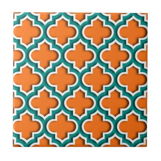 Pumpkin, Teal, White Moroccan Quatrefoil #5DS Tile