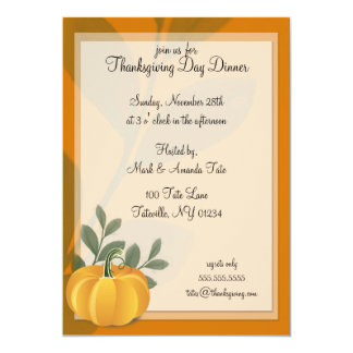 Pumpkin Thanksgiving Day Dinner Invitations