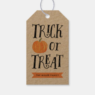 Pumpkin Trick or Treat Halloween Thanks Gift Tag