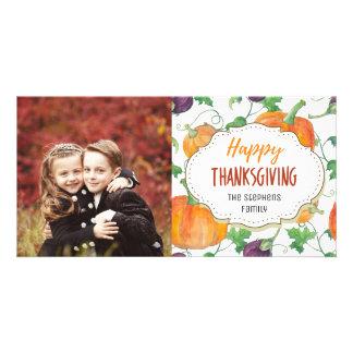 Pumpkin Vines Happy Thanksgiving Photo Card