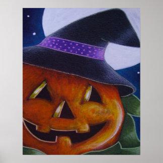 "PUMPKIN w WITCH HAT 20"" x 16"", Poster (Matte)"