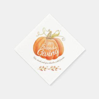 Pumpkin watercolor art friendsgiving napkins disposable serviette