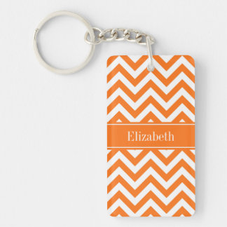 Pumpkin White Chevron, Pumpkin Name Monogram Key Ring