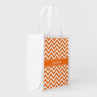 Pumpkin White Chevron, Pumpkin Name Monogram Reusable Grocery Bag