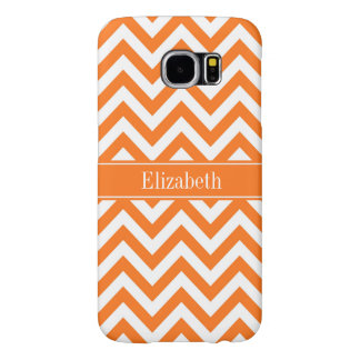 Pumpkin White Chevron, Pumpkin Name Monogram Samsung Galaxy S6 Cases