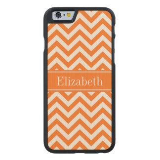 Pumpkin White Chevron, Pumpkin Name Monogram Carved® Maple iPhone 6 Case