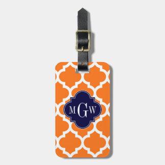 Pumpkin White Moroccan #5 Navy 3 Initial Monogram Bag Tag