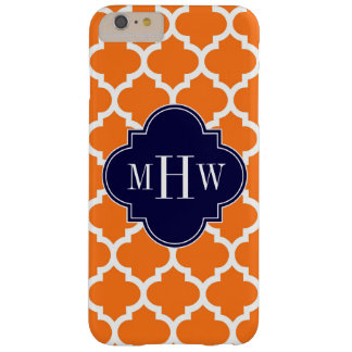 Pumpkin White Moroccan #5 Navy 3 Initial Monogram Barely There iPhone 6 Plus Case