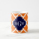 Pumpkin White Moroccan #5 Navy 3 Initial Monogram Basic White Mug