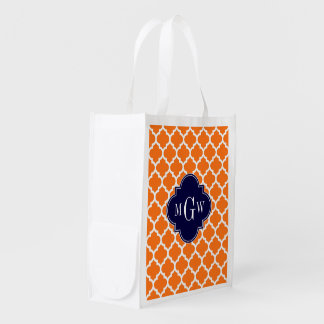 Pumpkin White Moroccan #5 Navy 3 Initial Monogram Reusable Grocery Bag