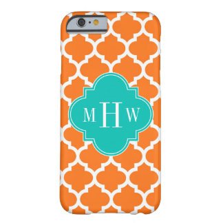 Pumpkin White Moroccan #5 Teal 3 Initial Monogram Barely There iPhone 6 Case