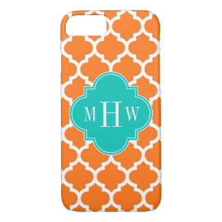 Pumpkin White Moroccan #5 Teal 3 Initial Monogram iPhone 7 Case