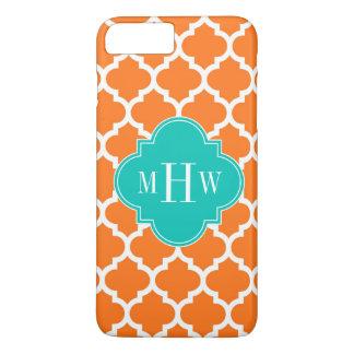 Pumpkin White Moroccan #5 Teal 3 Initial Monogram iPhone 7 Plus Case