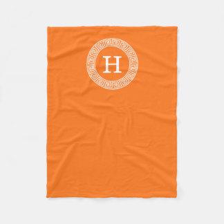 Pumpkin Wht Greek Key Rnd Frame Initial Monogram Fleece Blanket