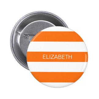 Pumpkin Wht Horiz Preppy Stripe #3 Name Monogram 6 Cm Round Badge