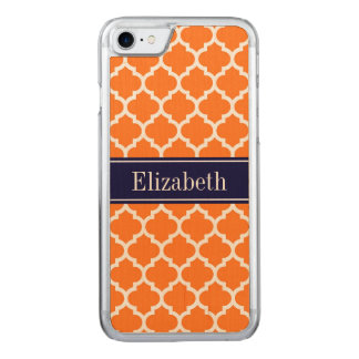 Pumpkin Wht Moroccan #5 Navy Blue Name Monogram Carved iPhone 8/7 Case
