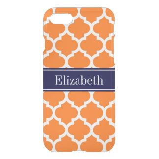 Pumpkin Wht Moroccan #5 Navy Blue Name Monogram iPhone 7 Case