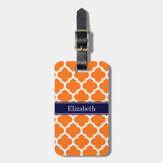 Pumpkin Wht Moroccan #5 Navy Blue Name Monogram Luggage Tag