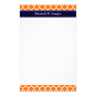 Pumpkin Wht Moroccan 5 Navy Blue Name Monogram Stationery Paper