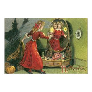 Pumpkin Witch Black Cat Ghost Photograph