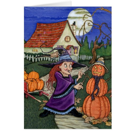 Pumpkin Witch Greeting Cards