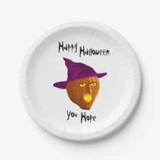 Pumpkin Witch: Happy Halloween - You Hope Paper Plate