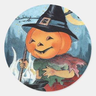 Pumpkin Witch Vintage Halloween Sticker
