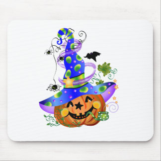 Pumpkin With Blue Hat Mouse Mat
