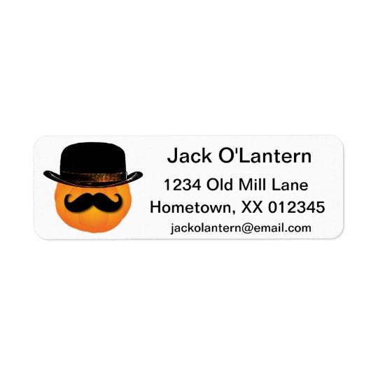 Pumpkin with moustache and hat label return address label