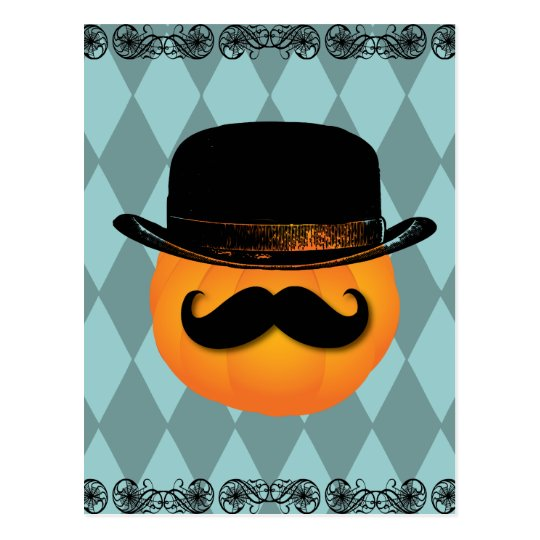 Pumpkin with moustache and hat postcard