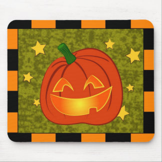 Pumpkin with orange and black border mouse mat
