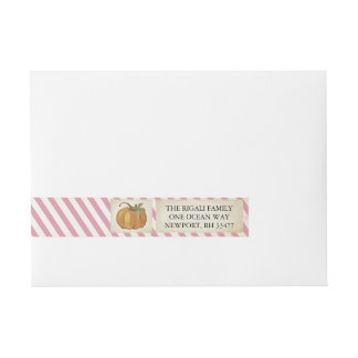 Pumpkin Wrap Around Label - Pink Stripes