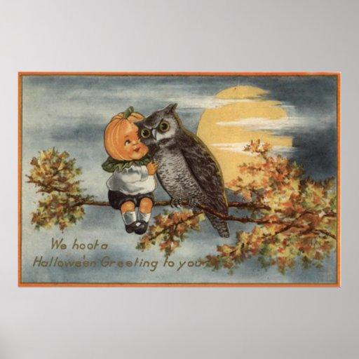 Pumpkinhead Owl Full Moon Tree Pumpkin Print