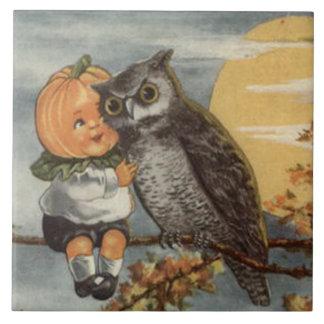 Pumpkinhead Owl Full Moon Tree Pumpkin Tile
