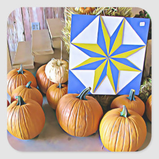 Pumpkins and Autumn Quilt Halloween Stickers