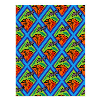 Pumpkins and Bats in Patterns of Green Blue Postcards