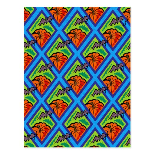 Pumpkins and Bats in Patterns of Green/Blue Postcards