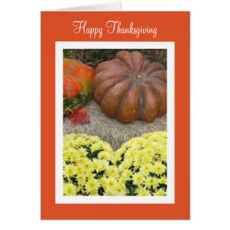 Pumpkins and Flowers Thanksgiving Sentiment Card