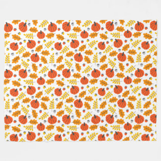 Pumpkins And Leaves Fleece Blanket