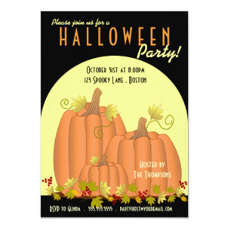Pumpkins and Moonlight Halloween Party Invitation