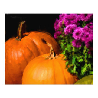Pumpkins and Mums Photographic Print