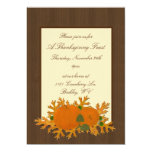 Pumpkins and Oak Leaves Thanksgiving Invitation