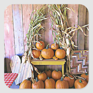 Pumpkins and  Quilt Halloween Stickers