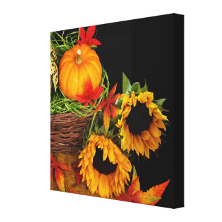 Pumpkins and Sunflowers Gallery Wrapped Canvas