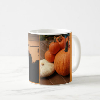 pumpkins and sunset halloween spooky scene coffee mug