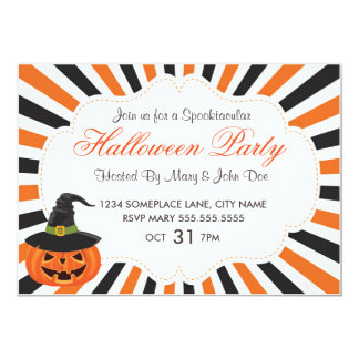 Pumpkins and Witch Hat Halloween Party Invite